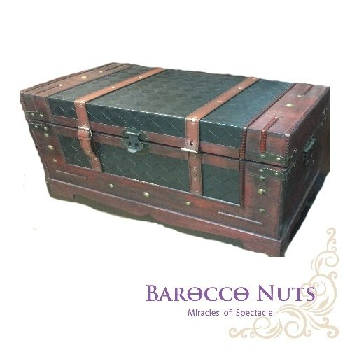 【Barocco Nuts】[藏寶箱]24吋小木箱:香奈兒式紋菱面藏寶箱(經典/菱格紋/仿古/收納箱/雜貨箱/可可島/紅酒箱/珠寶箱/古典木箱/衣物箱)