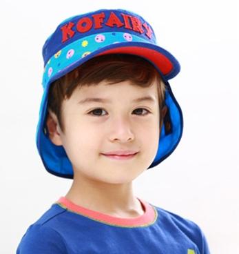 Kofairy可飛兒◆字母宇宙星球兒童護頸防曬遮陽棒球帽盆帽-紅色