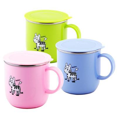 【悅兒樂婦幼用品舘】ZEBRA 斑馬 兒童馬克杯(附蓋)-粉/綠/藍