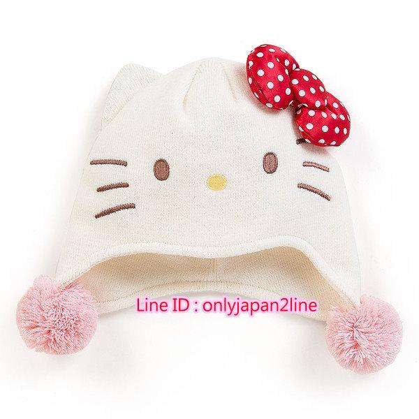 【真愛日本】16101400059針織毛帽-KT白點紅結米    三麗鷗 Hello Kitty 凱蒂貓 帽子 毛帽 童用