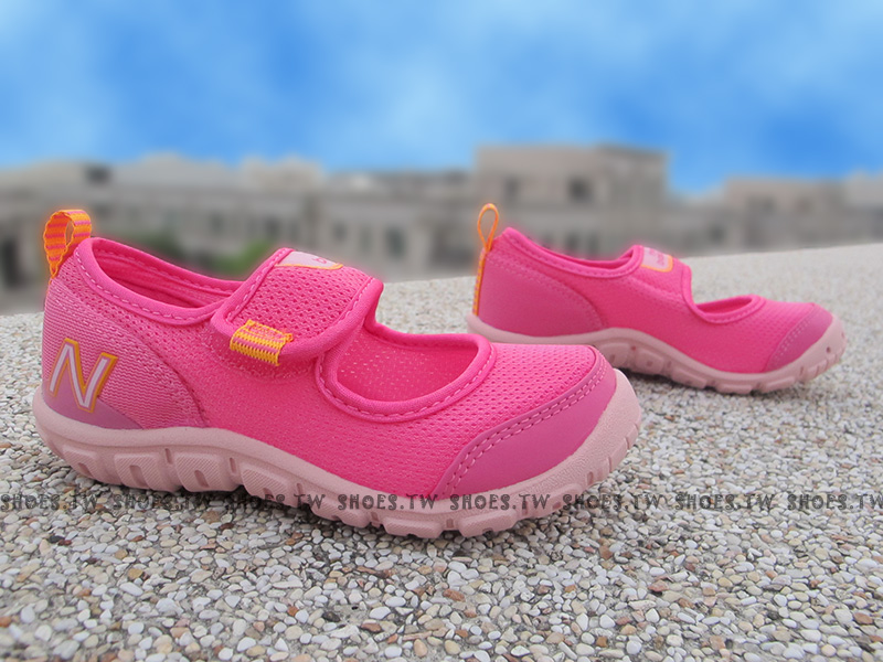 Shoestw【KA207MAP】NEW BALANCE 涼鞋 拖鞋 童鞋 中童鞋 桃紅橘 免綁帶