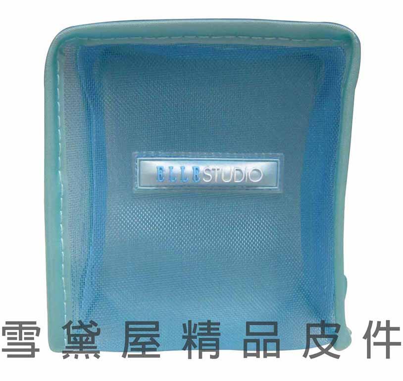 ~雪黛屋~ELLE 分類包化妝包萬用包進口PVC超輕透明網材質小型輕巧方便透室內置物品設計ECCN-0100