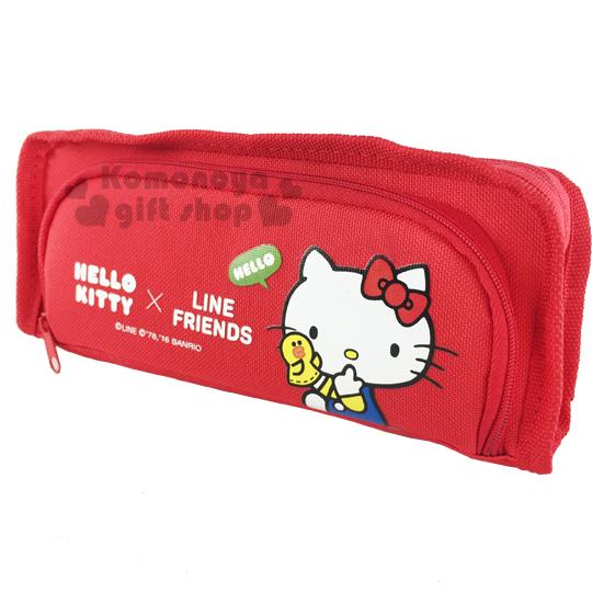 〔小禮堂〕Hello Kitty x Line Friends 雙層拉鍊筆袋《紅.咬手指》