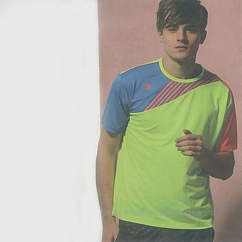 MILD STAR 男女吸濕排汗短T恤-螢綠藍#AS700304