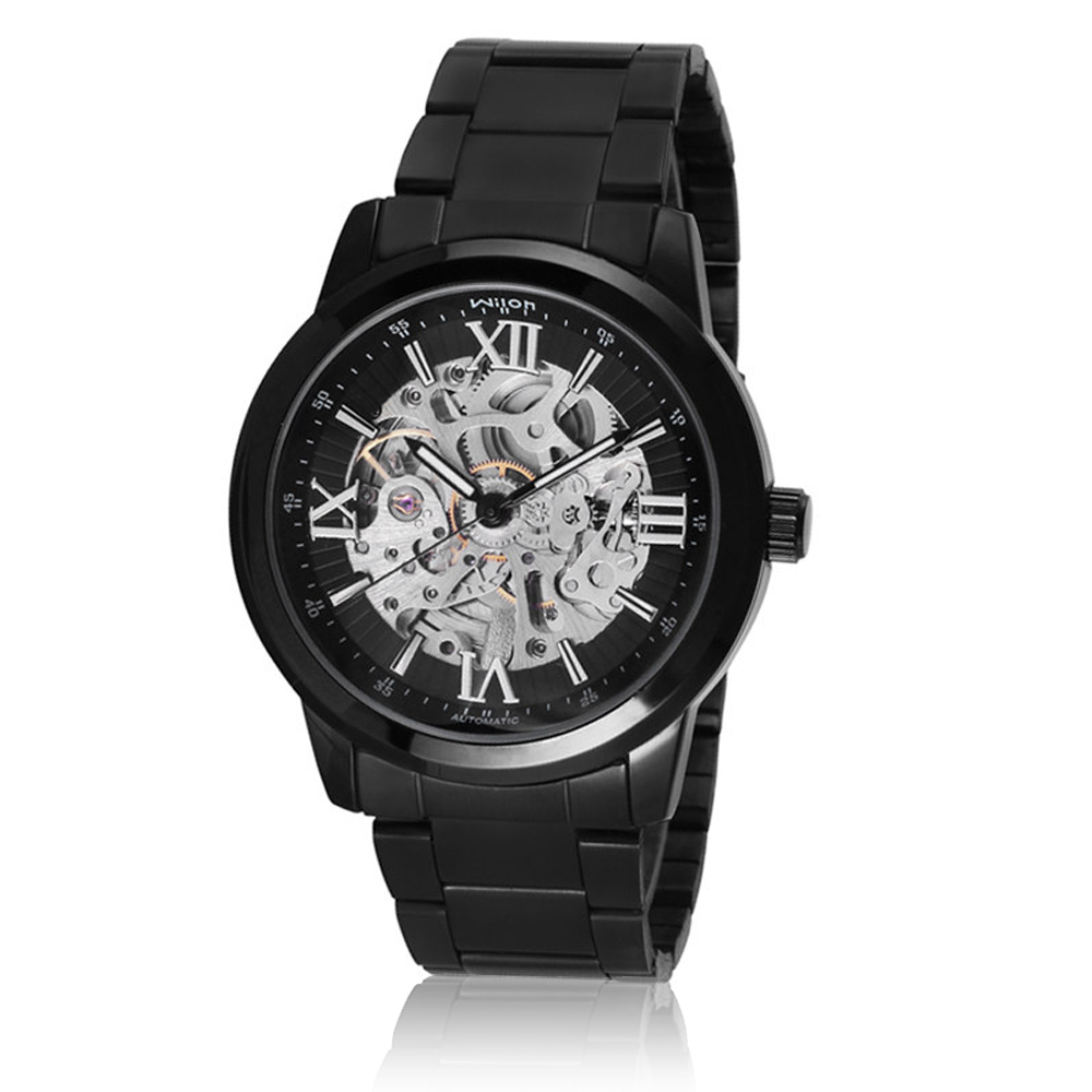 Wilon威龍 2059-IP鏤空透底指針式 全自動上鍊機械男錶 - 黑色
