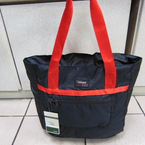 ~雪黛屋~YESON 折疊收納購物肩背袋可輕巧收納備用袋可掛行李箱拉桿上並用超輕材質F667深藍