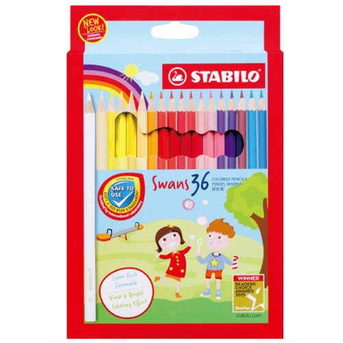 【STABILO 德國天鵝牌】STABILO 1878 36色水溶性色鉛筆(紙盒裝)