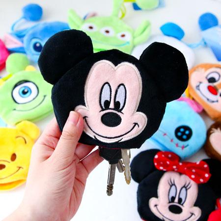 正版 迪士尼拉繩鑰匙包 吊飾 鑰匙圈 收納包 米奇 米妮 毛怪 大眼仔奇奇蒂蒂【N200913】