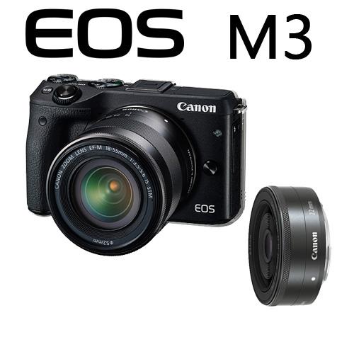 Canon EOS M III + 15-45   + 22mm  雙鏡組   M3  風景 人像  一次購足  彩虹公司貨 eosm3  送 SD32G+清潔組 【10/31前申請送原廠包】 (公司貨)