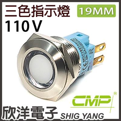※ 欣洋電子 ※19mm不鏽鋼金屬平面三色指示燈 AC110V / S19041-110RGB 紅綠藍三色光 CMP西普