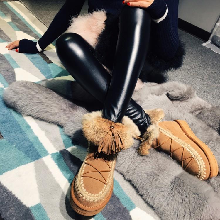 2016秋冬新款兔毛內增高中跟雪地靴真皮羊毛女鞋透氣保暖雪靴繫帶