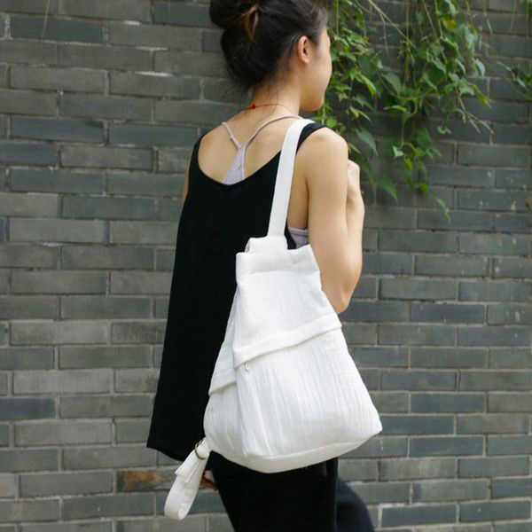 [ U'NIDO ] 原創手作 簡約隨性輕巧立體後背包-純白/ 中性設計/ 天然棉麻/ 上班上課包/ 情侶包/ 暖心禮物