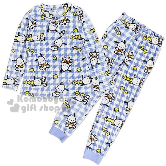 〔小禮堂〕帕恰狗 絨毛居家服套裝《長袖上衣+長褲.藍.格紋.小雞》入秋冬天保暖好夥伴