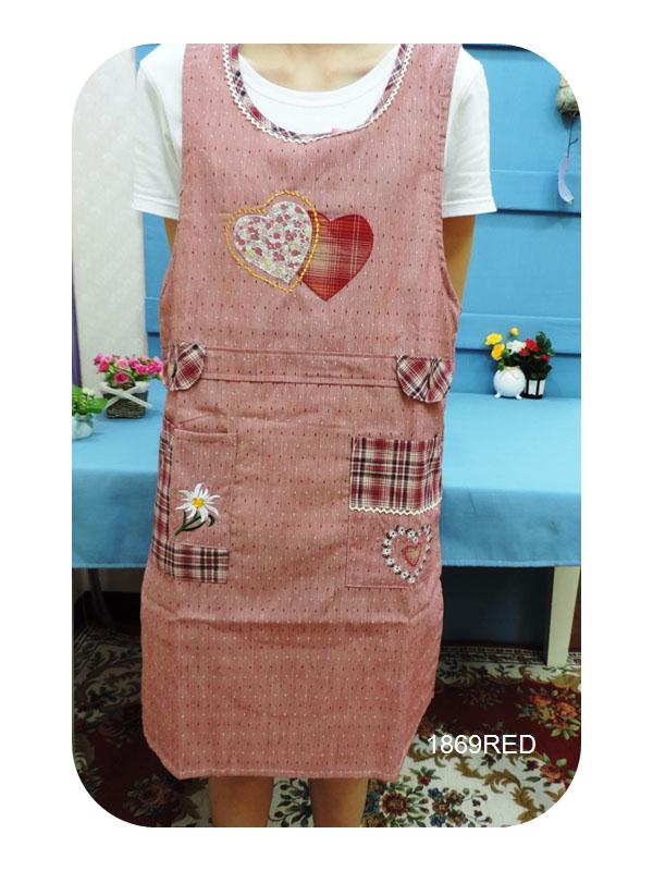◤彩虹森林◥《1869RED》心心相印 日式拼布圍裙 日式圍裙 主婦家居 幼稚園工作圍裙 工作裙