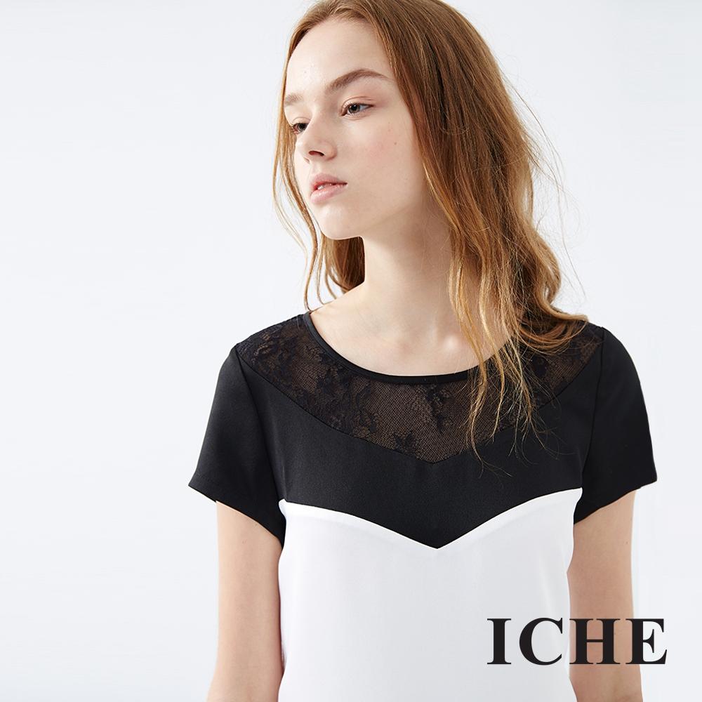 ICHE 衣哲 黑白撞色馬甲剪裁拼接洋裝 兩色