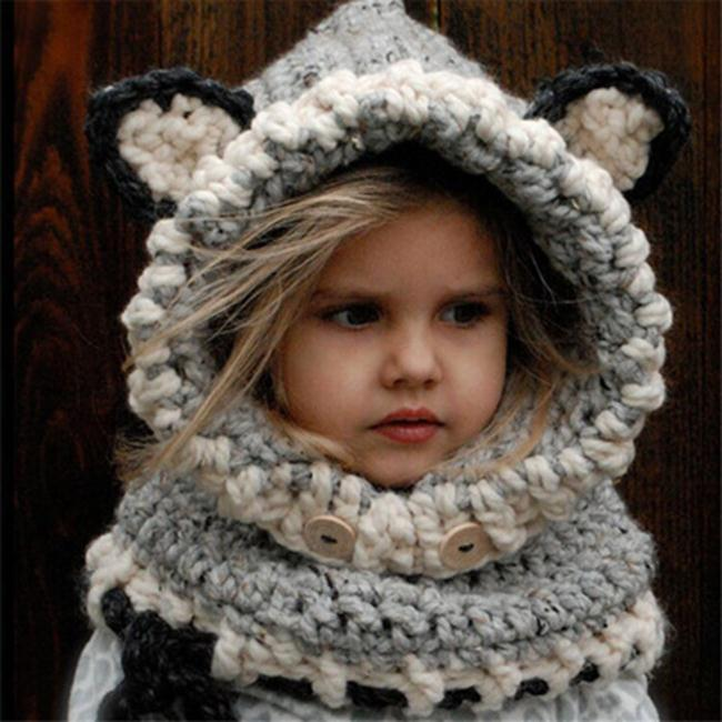 50%OFF【E018834WH】兒童帽子女冬天棉帽秋冬季可愛卡通針織毛線帽披肩女寶寶連帽