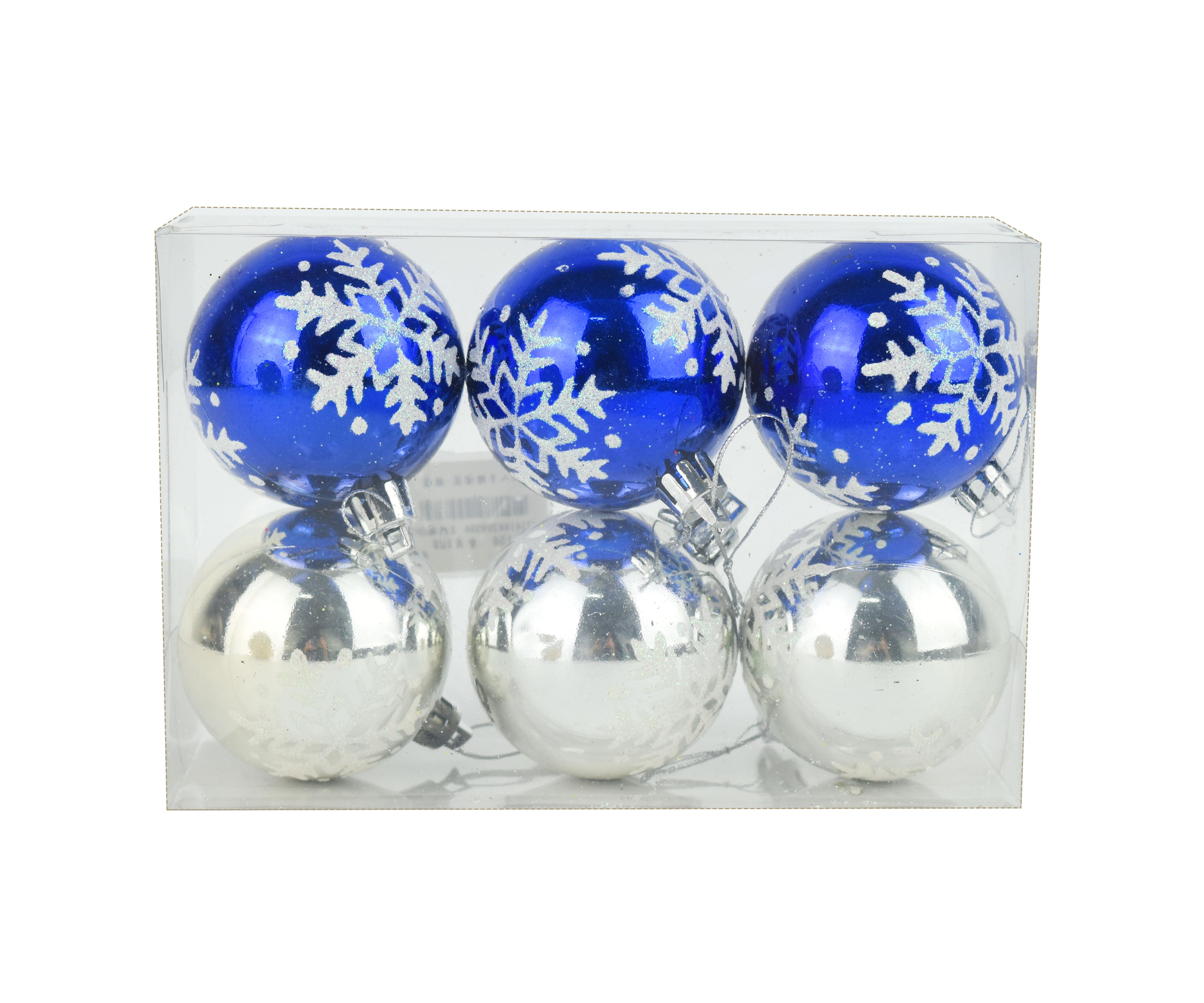 X射線【X299384】6公分手繪雪花鍍金球(銀藍)6入,聖誕節/聖誕佈置/聖誕鍍金球/聖誕球/吊飾/會場佈置/DIY/材料包