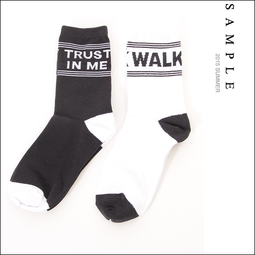 運動球襪 【SA13325】字母標語印花短襪【Sample】