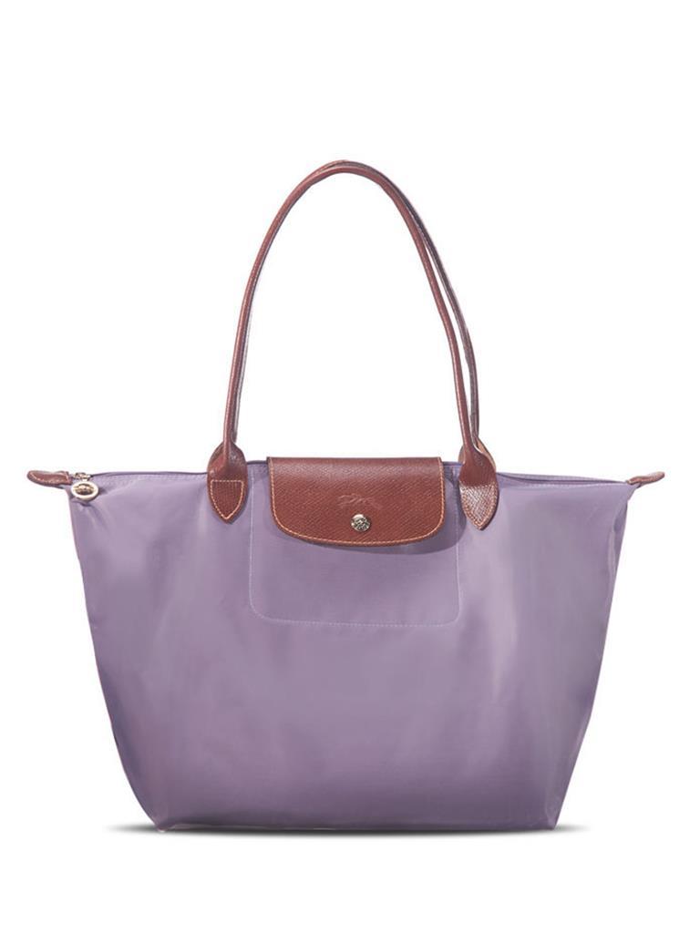 [2605-S號長柄]國外Outlet代購正品 法國巴黎 Longchamp  購物袋防水尼龍手提肩背水餃包 薰衣草