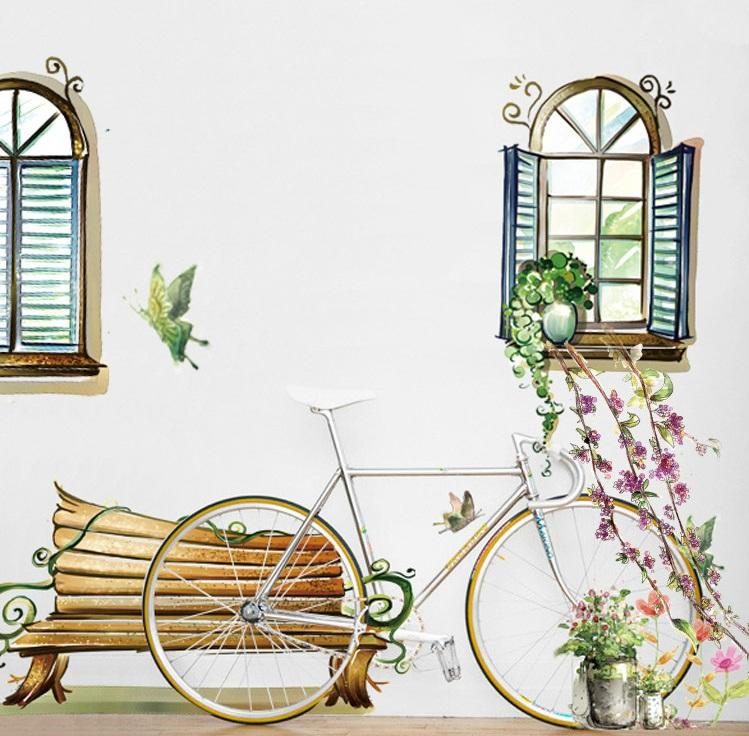 【壁貼王國】園藝系列無痕壁貼《窗戶木椅 - AY939》