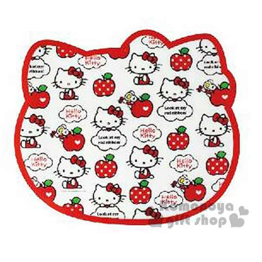 小禮堂  Hello Kitty 造型桌墊《紅.蘋果滿版.大臉》餐墊.37x33cm