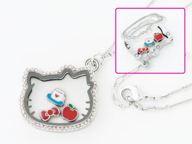 【真愛日本】16031700006 KT臉型項鍊-浮動墜飾 三麗鷗 Hello Kitty 凱蒂貓 項鍊 鍊子 飾品