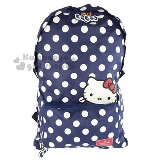 〔小禮堂〕Hello Kitty x Hallmark 可折疊後背包《藍.點點滿版》可掛於行李箱桿上