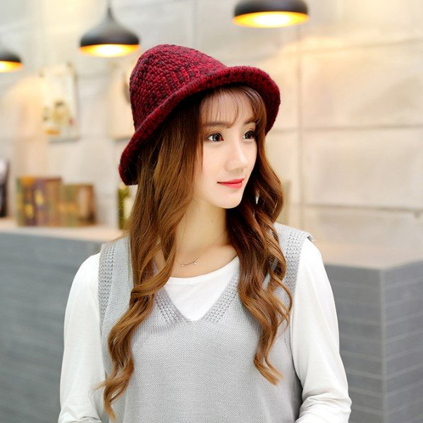 *漂亮小媽咪*蝴蝶結手工針織毛線帽 百搭時尚保暖漁夫帽 M7491