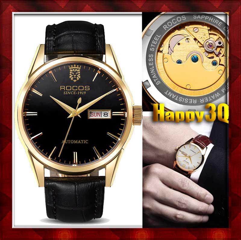 紳士高檔全自動鏤空機芯雙日期機械錶手錶男錶-玫瑰金/純銀【AAA0594】