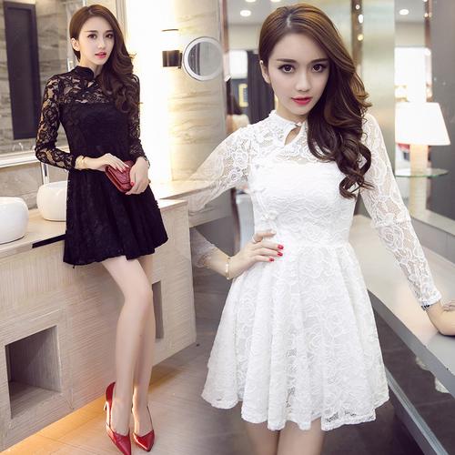 [加碼!滿1200結帳現折$200,全店5倍] SaSa 韓國風蕾絲復古改良旗袍收腰性感長袖洋裝