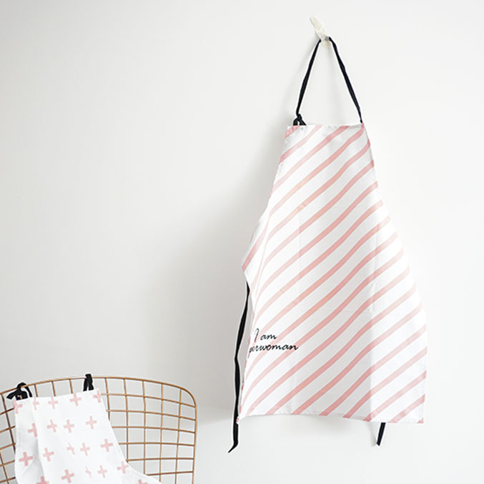 北歐風粉色條紋全棉圍裙 DH031