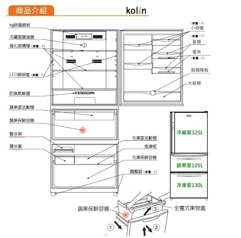歌林kolin 变频三门冰箱 kr-356vb01
