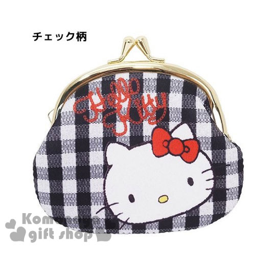 〔小禮堂〕Hello Kitty 潛水布口金零錢包《L.黑白格.大臉》可愛又實用