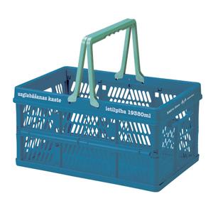 日本Everyday 「露營雜貨」小型伸縮摺疊收納籃-海藍「新品」