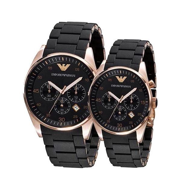 【ARMANI亞曼尼】膠鋼帶石英黑\金配色-情侶對錶(AR5905\AR5906)