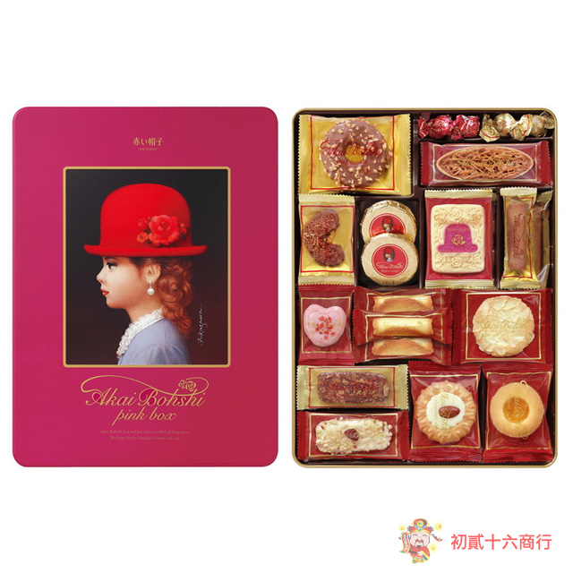 【0216零食會社】高帽子粉紅帽餅乾禮盒352g