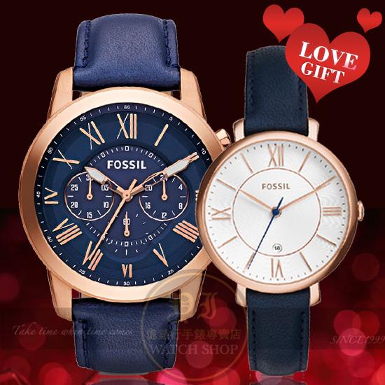 FOSSIL美式休閒品牌Grant羅馬情人皮帶對錶FS4835/ES3843公司貨/禮物/情人