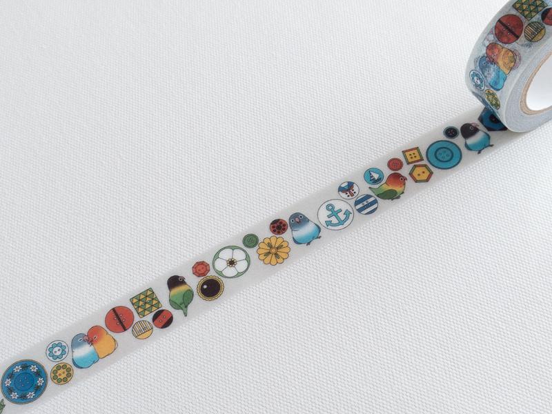 *小徑文化* 日本進口 0313 原創和紙膠帶 - 服飾柄_薄灰 Buttons ( 0313-004 )