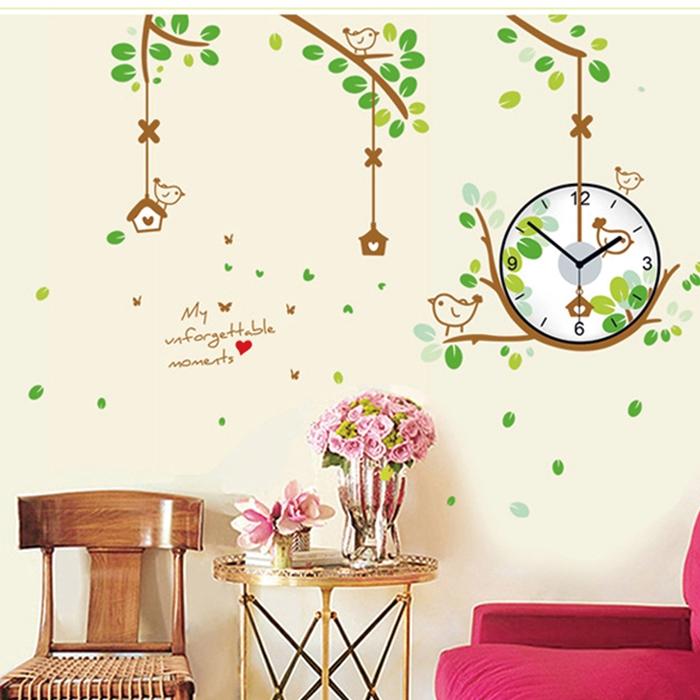 【香草花園】森林裡的小鳥 大型創意時鐘貼/壁貼/牆貼
