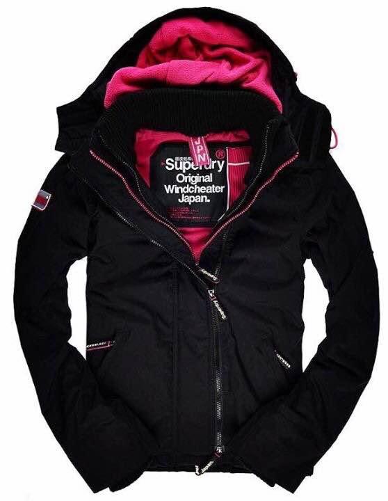 [女款]英國極度乾燥 Superdry Arctic Windcheater 2016新款 三層拉鍊連帽保暖防風外套 黑/桃