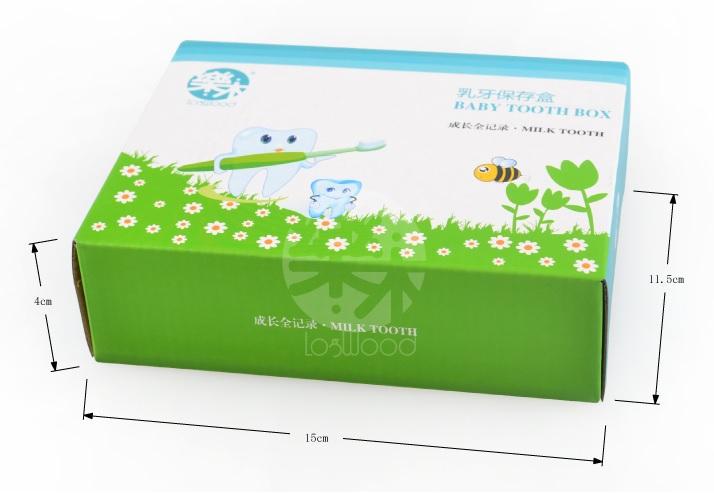 牙齒圖案  寶寶木製乳牙盒 胎毛保存盒