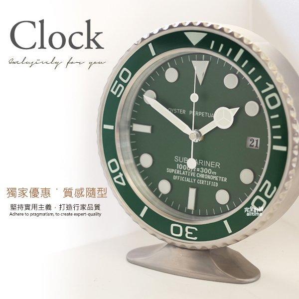 完全計時手錶館│SUBMARINER 獨家典藏 簡約經典名品設計 水鬼掛鐘時鐘座鐘 現貨 綠 經典特色 可掛