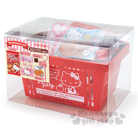 〔小禮堂〕Hello Kitty 提籃文具組《紅.蘋果.餅乾.透明盒裝》文具禮盒系列