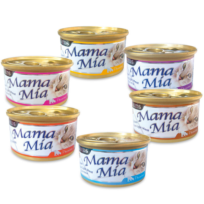 ♥ ☆ 嚐鮮一起帶 ☆ ♥ SEEDS MamaMia 貓罐頭 85G  6罐一組 (口味依現貨混搭隨機出貨)