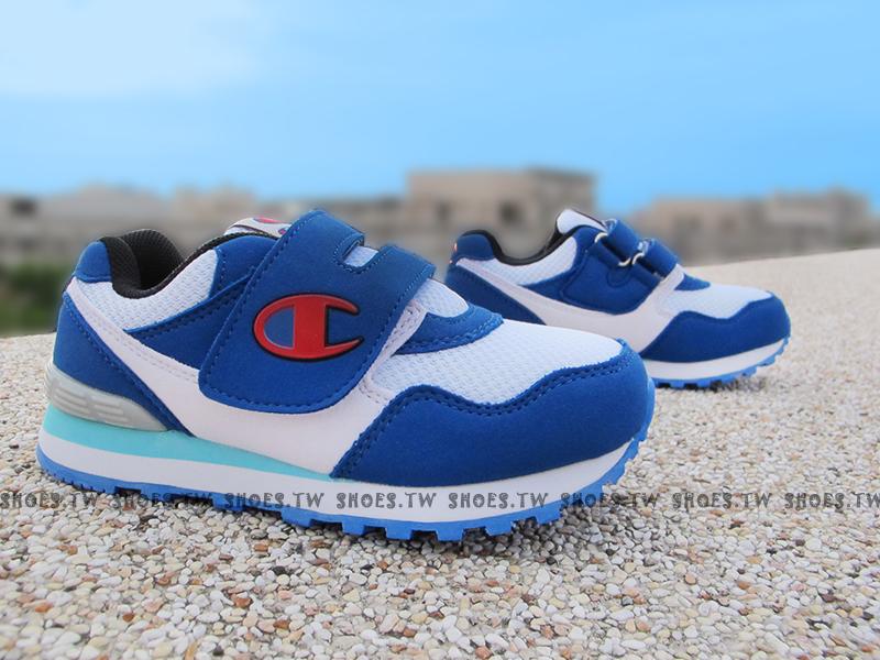Shoestw【621230134】Champion 中童鞋 運動鞋 黏帶 白藍紅