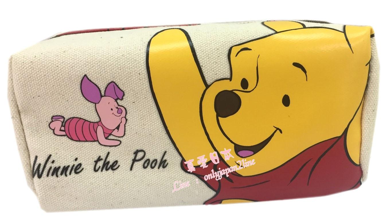 【真愛日本】16080400002長四方帆布筆袋-維尼   迪士尼 維尼家族 POOH   鉛筆盒 收納 筆袋