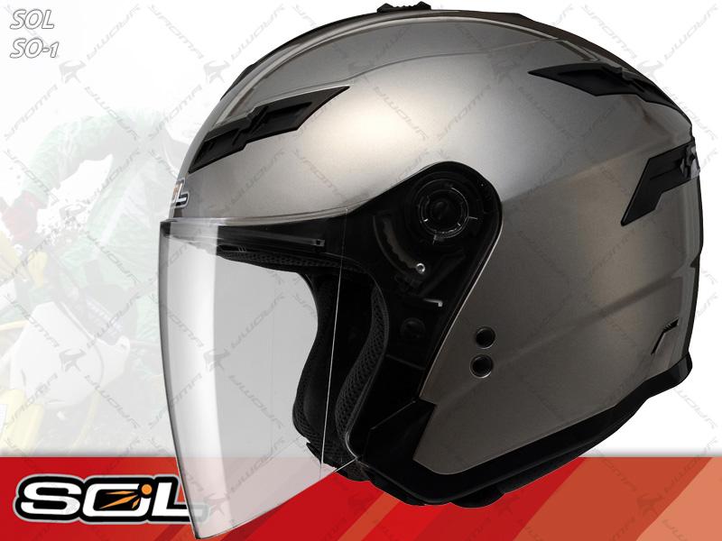 SOL安全帽|SO-1 / SO1 素色 鈦金 【內置墨片.LED燈】 半罩帽 『耀瑪騎士生活機車部品』
