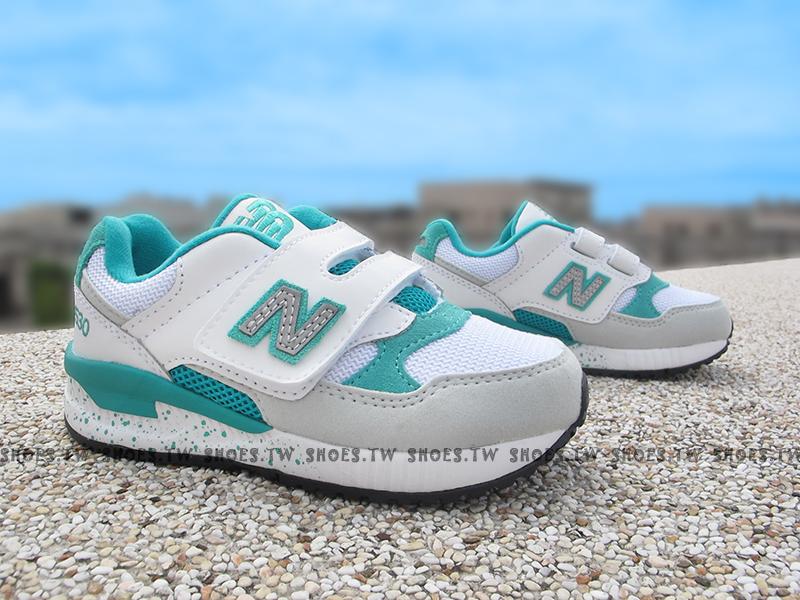 Shoestw【KV530GGP】NEW BALANCE 530 復古慢跑鞋 中童鞋 運動鞋 白綠 潑墨底
