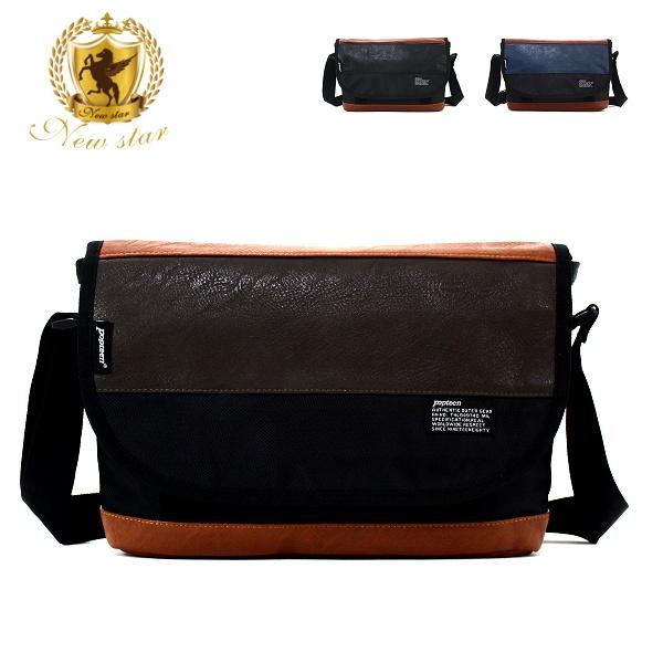 斜背包 質感混搭配皮側背包 NEW STAR BL61