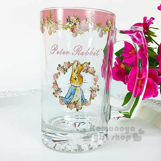 〔小禮堂〕彼得兔 玻璃啤酒杯《透明.粉.玫瑰花圈.315ml》
